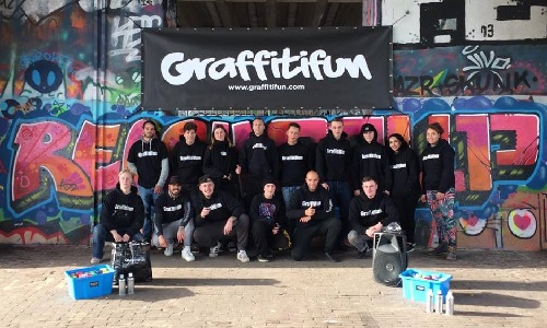 Graffiti Kinderfeestje en workshops team Graffitifun Michel Steers