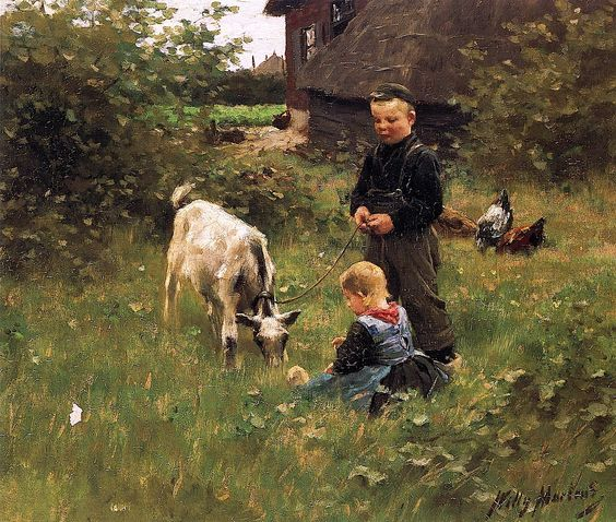 Two kids and a goat at the farm - Willy Martens